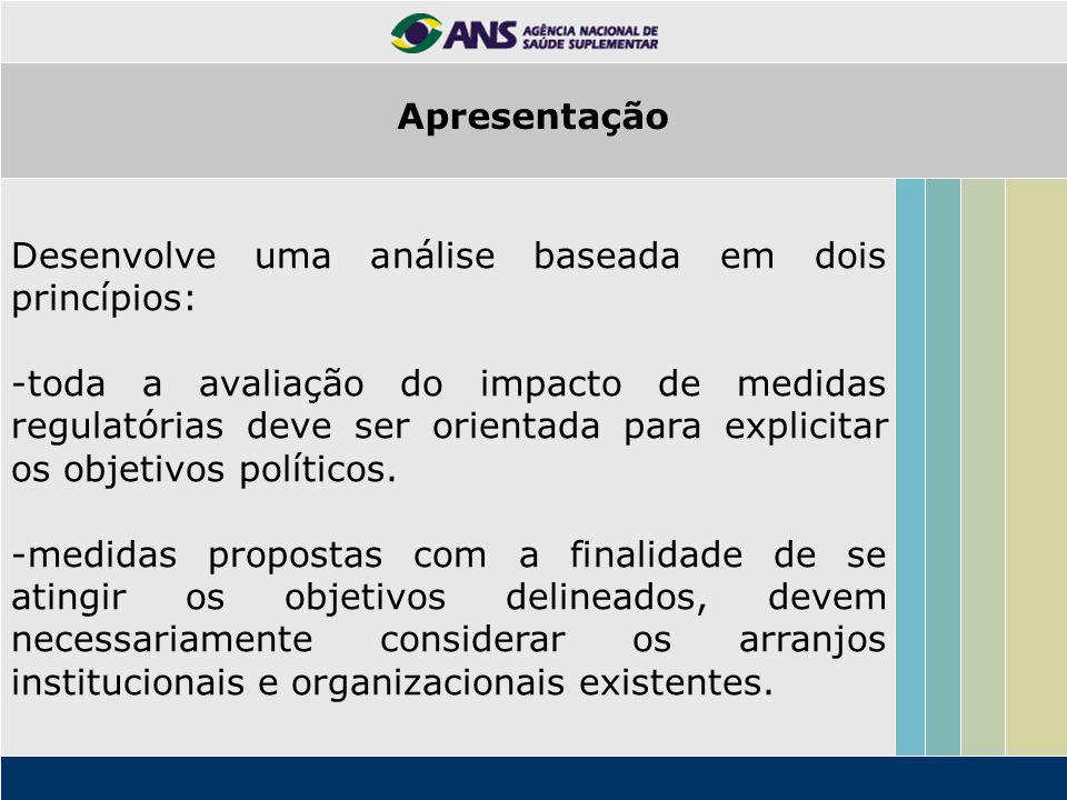 Desenvolve uma análise baseada em dois princípios: -toda a avaliação do impacto de medidas regulatórias deve ser orientada para explicitar os objetivo