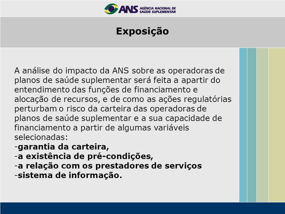 A análise do impacto da ANS sobre as operadoras de planos de saúde suplementar será feita a apartir do entendimento das funções de financiamento e alo