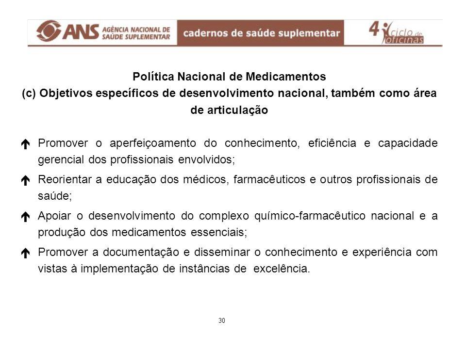 Política Nacional de Medicamentos (c) Objetivos específicos de desenvolvimento nacional, também como área de articulação é éPromover o aperfeiçoamento
