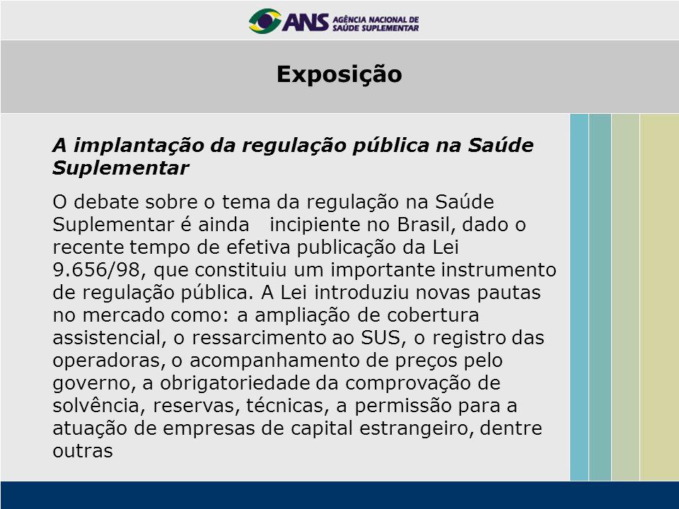 A implantação da regulação pública na Saúde Suplementar O debate sobre o tema da regulação na Saúde Suplementar é ainda incipiente no Brasil, dado o r