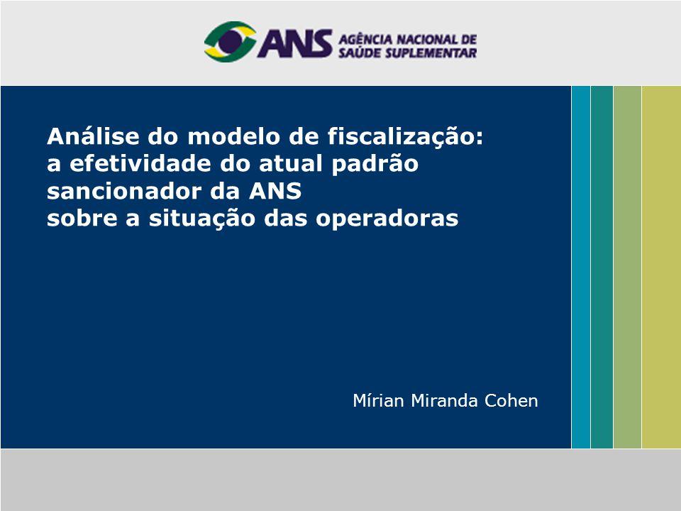 Análise do modelo de fiscalização: a efetividade do atual padrão sancionador da ANS sobre a situação das operadoras Mírian Miranda Cohen