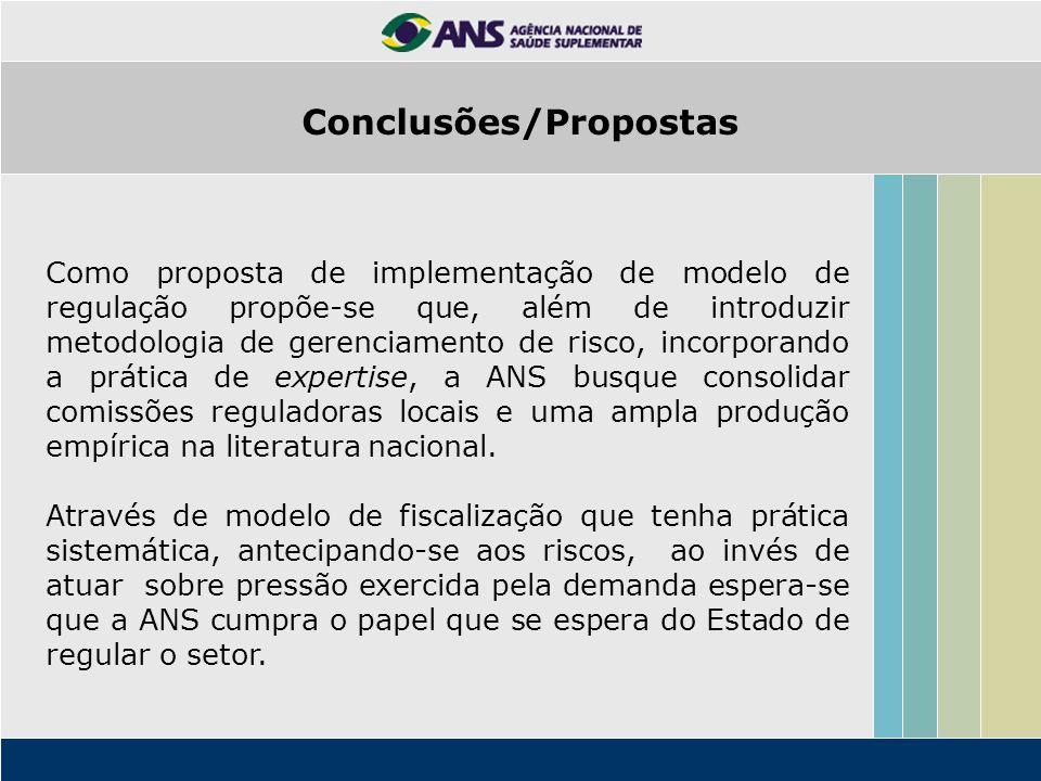 Como proposta de implementação de modelo de regulação propõe-se que, além de introduzir metodologia de gerenciamento de risco, incorporando a prática