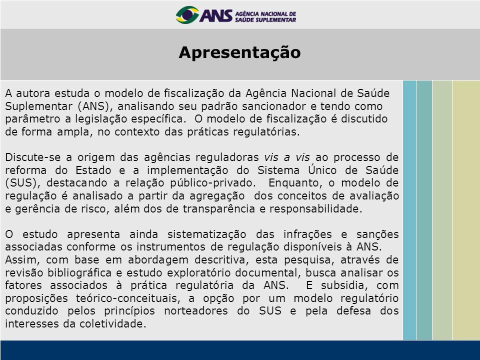 O objeto de análise é o modelo de fiscalização da Agência Nacional de Saúde Suplementar.