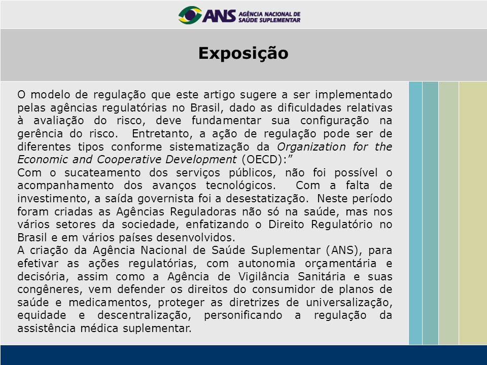 Exposição O modelo de regulação que este artigo sugere a ser implementado pelas agências regulatórias no Brasil, dado as dificuldades relativas à aval