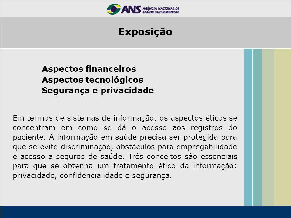 Exposição Aspectos financeiros Aspectos tecnológicos Segurança e privacidade Em termos de sistemas de informação, os aspectos éticos se concentram em