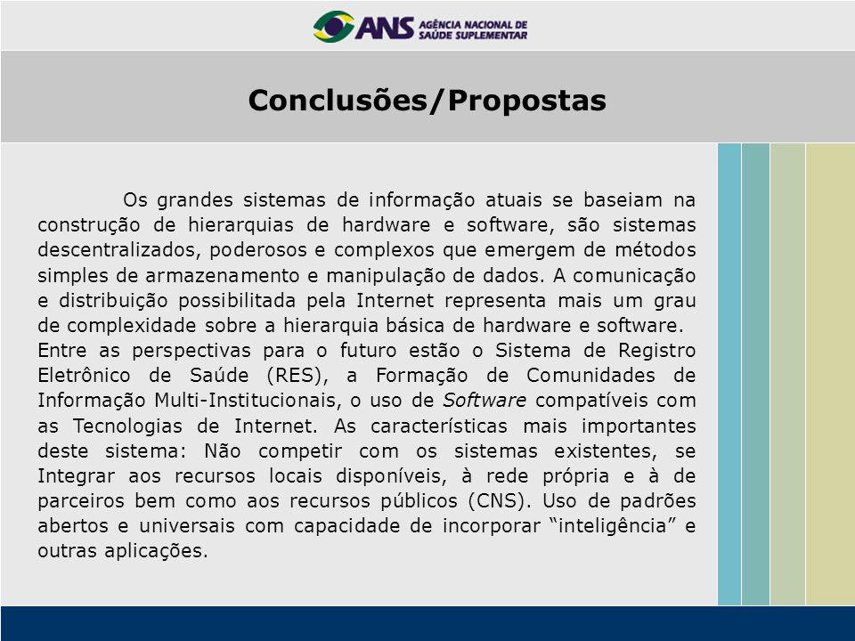 Conclusões/Propostas Os grandes sistemas de informação atuais se baseiam na construção de hierarquias de hardware e software, são sistemas descentrali