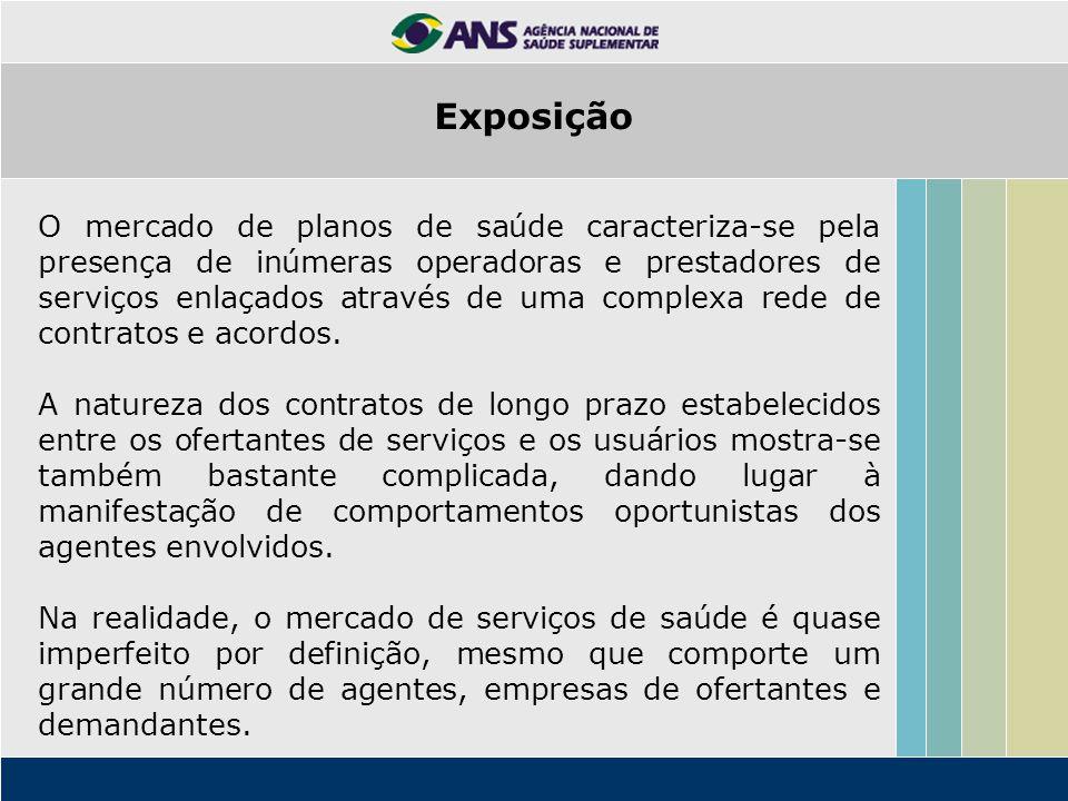 O mercado de planos de saúde caracteriza-se pela presença de inúmeras operadoras e prestadores de serviços enlaçados através de uma complexa rede de c