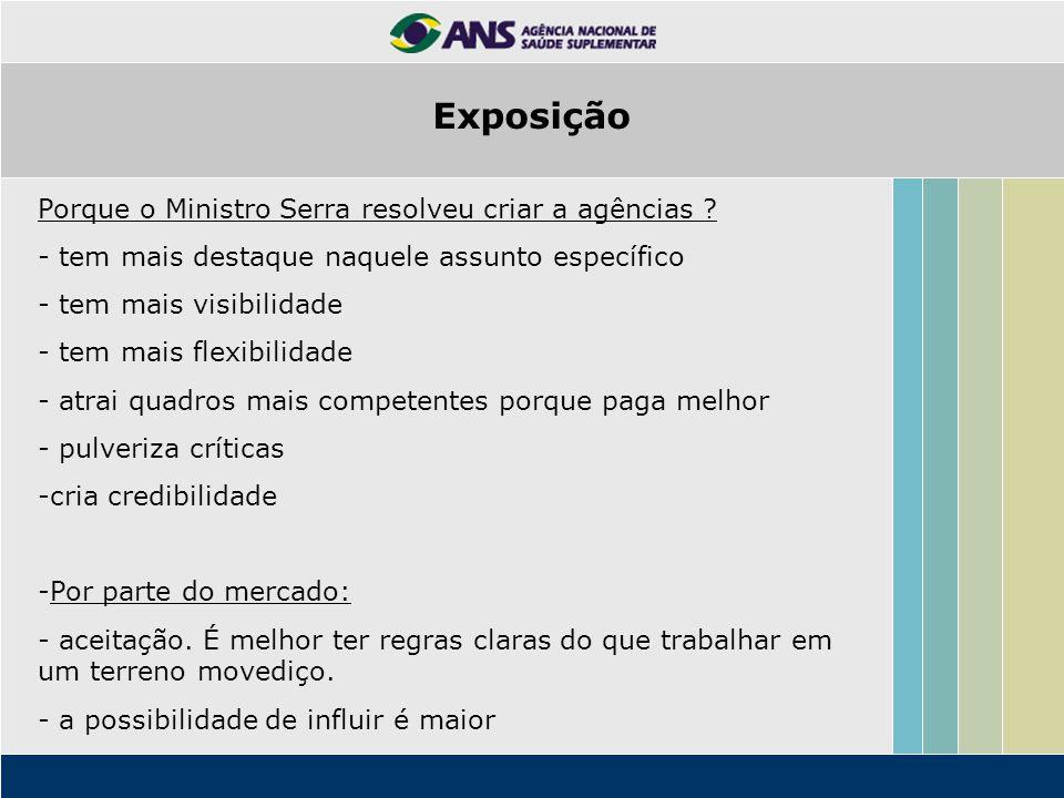Porque o Ministro Serra resolveu criar a agências ? - tem mais destaque naquele assunto específico - tem mais visibilidade - tem mais flexibilidade -