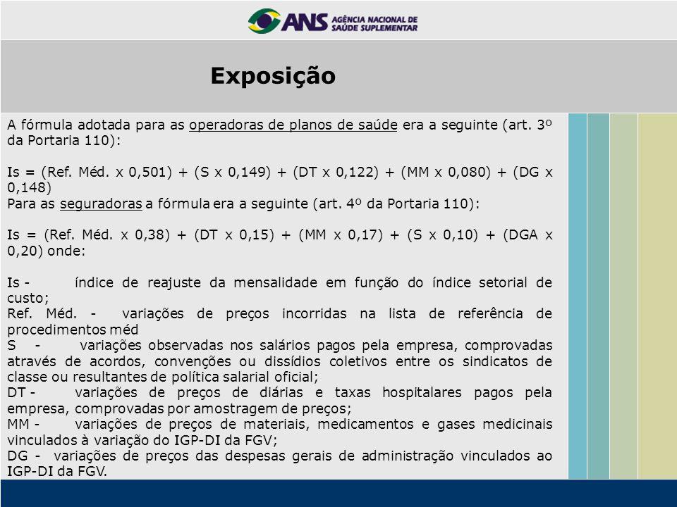 A fórmula adotada para as operadoras de planos de saúde era a seguinte (art. 3º da Portaria 110): Is = (Ref. Méd. x 0,501) + (S x 0,149) + (DT x 0,122