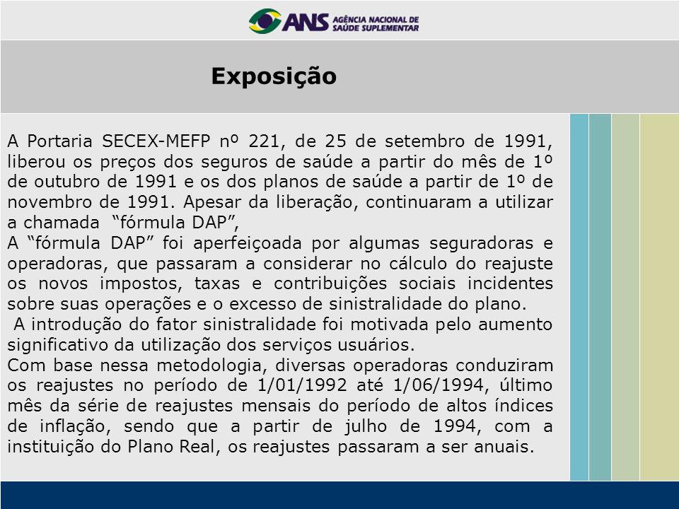 A Portaria SECEX-MEFP nº 221, de 25 de setembro de 1991, liberou os preços dos seguros de saúde a partir do mês de 1º de outubro de 1991 e os dos plan