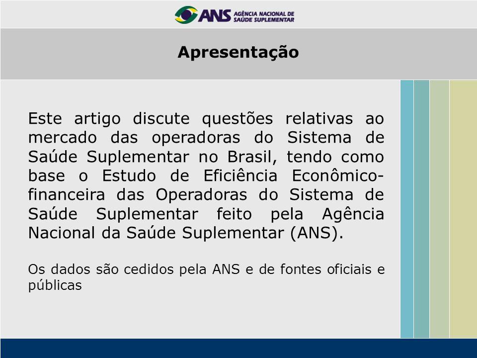 Este artigo discute questões relativas ao mercado das operadoras do Sistema de Saúde Suplementar no Brasil, tendo como base o Estudo de Eficiência Econômico- financeira das Operadoras do Sistema de Saúde Suplementar feito pela Agência Nacional da Saúde Suplementar (ANS).