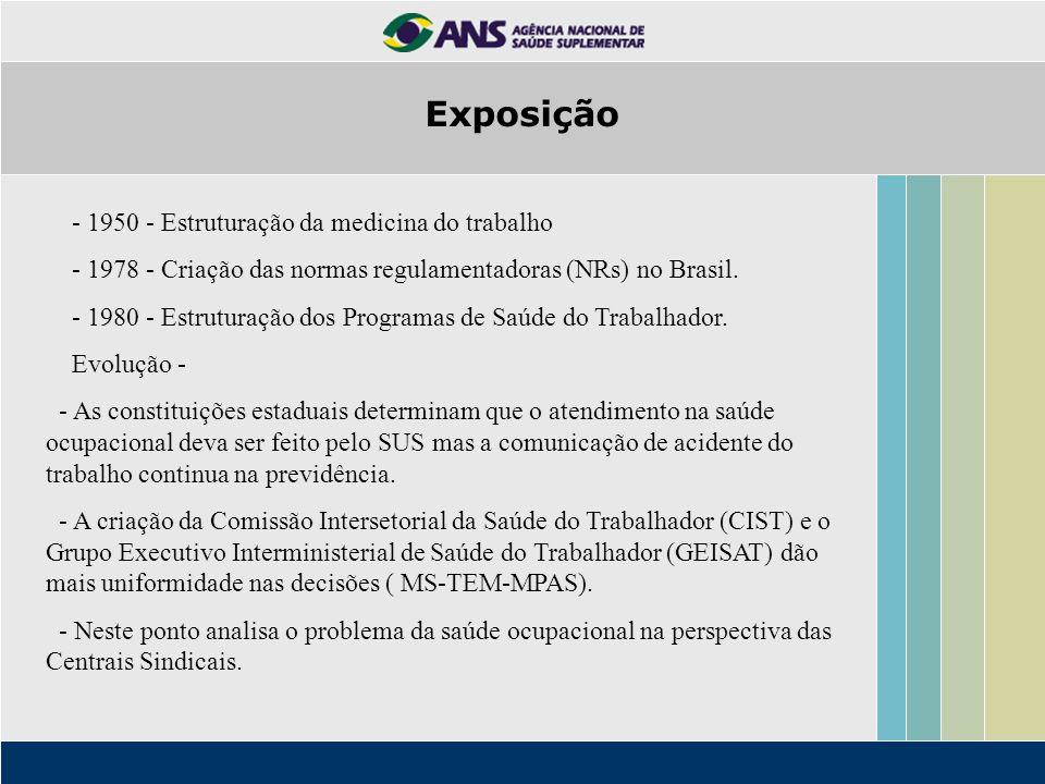 - 1950 - Estruturação da medicina do trabalho - 1978 - Criação das normas regulamentadoras (NRs) no Brasil.