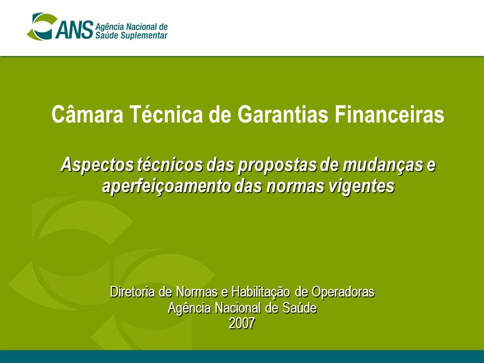 Aspectos técnicos das propostas de mudanças e aperfeiçoamento das normas vigentes Câmara Técnica de Garantias Financeiras Aspectos técnicos das propos