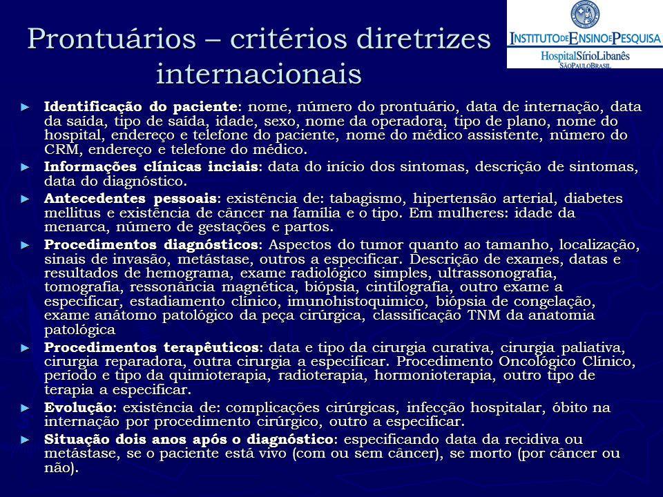 Prontuários – critérios diretrizes internacionais ► Identificação do paciente : nome, número do prontuário, data de internação, data da saída, tipo de