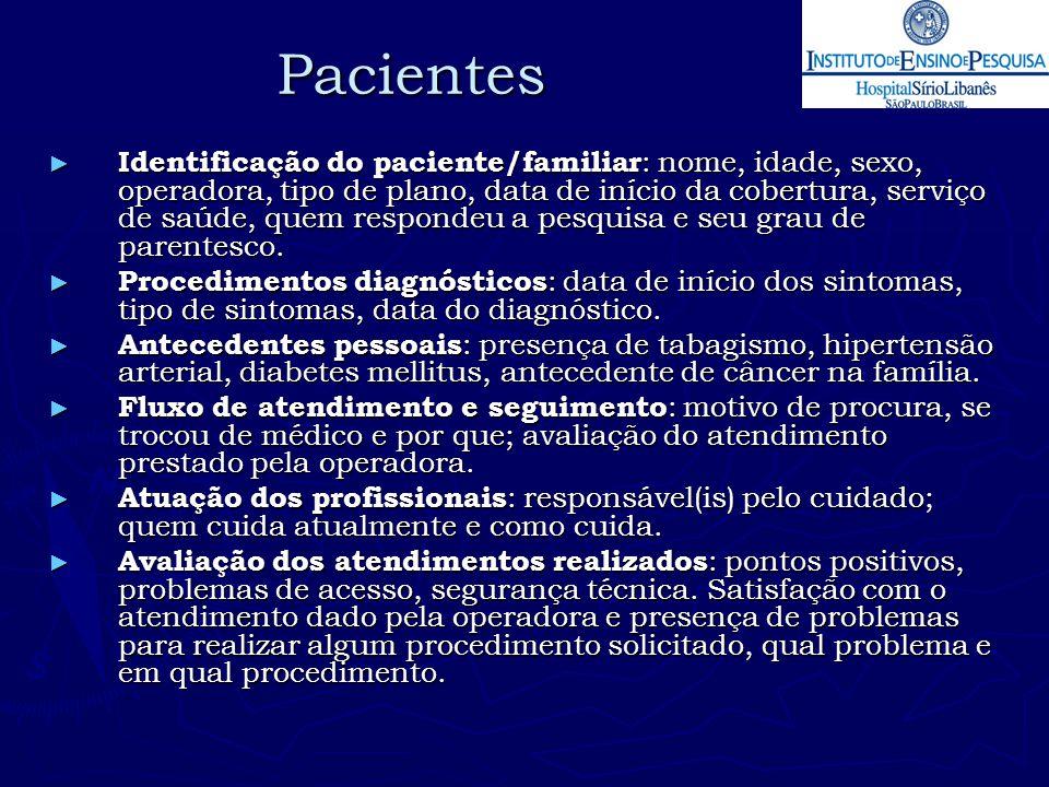 Pacientes ► Identificação do paciente/familiar : nome, idade, sexo, operadora, tipo de plano, data de início da cobertura, serviço de saúde, quem resp