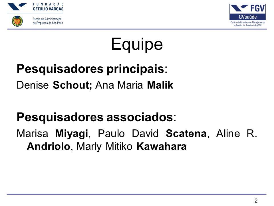 2 Equipe Pesquisadores principais: Denise Schout; Ana Maria Malik Pesquisadores associados: Marisa Miyagi, Paulo David Scatena, Aline R.
