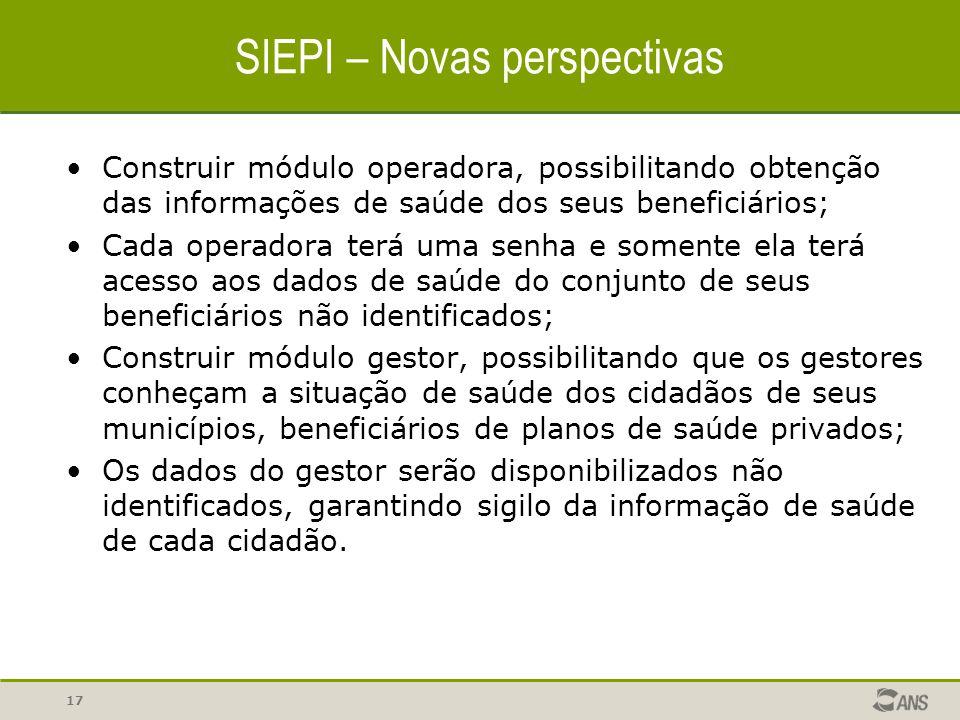 17 SIEPI – Novas perspectivas Construir módulo operadora, possibilitando obtenção das informações de saúde dos seus beneficiários; Cada operadora terá