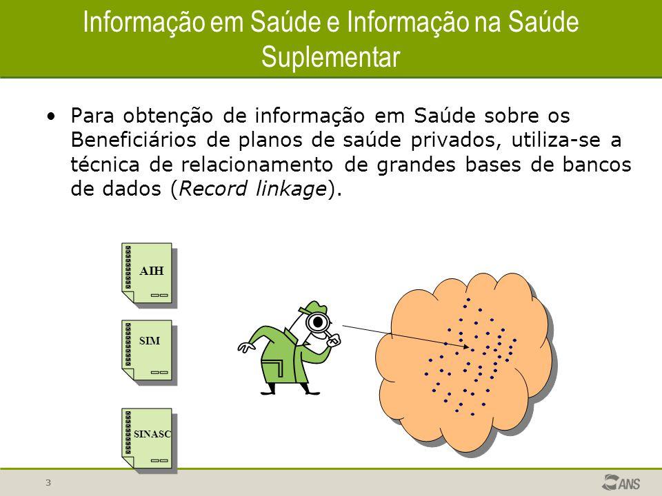 3 Informação em Saúde e Informação na Saúde Suplementar Para obtenção de informação em Saúde sobre os Beneficiários de planos de saúde privados, utili