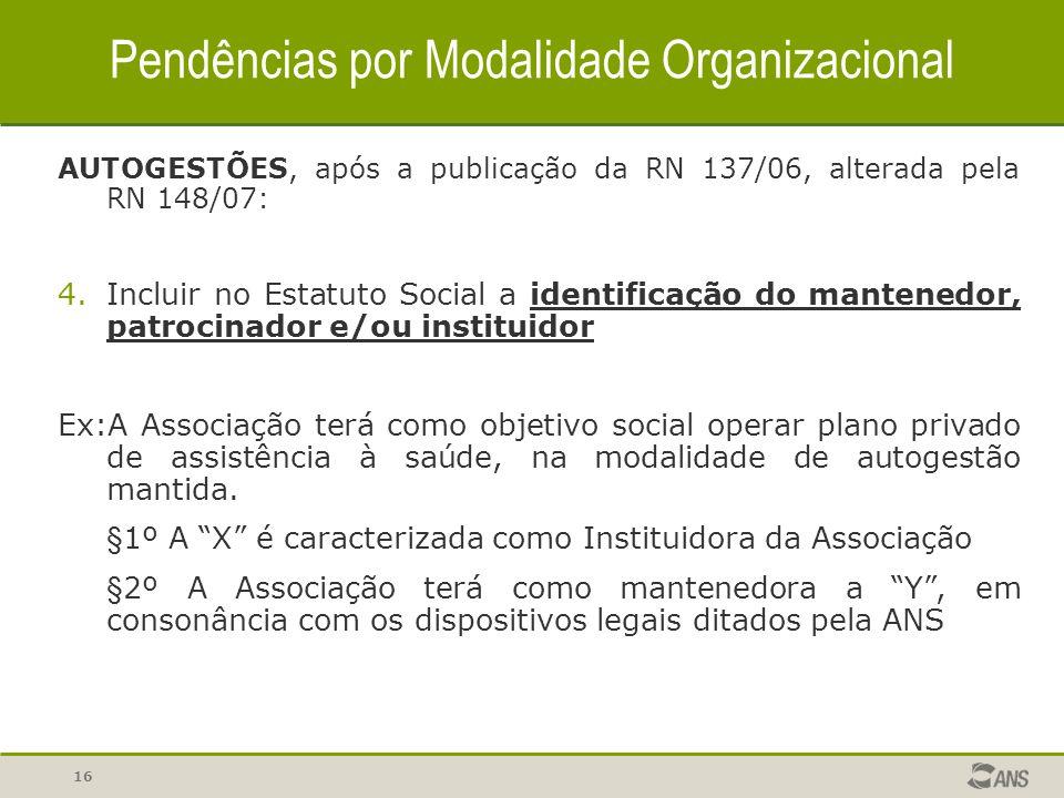 16 Pendências por Modalidade Organizacional AUTOGESTÕES, após a publicação da RN 137/06, alterada pela RN 148/07: 4.Incluir no Estatuto Social a ident