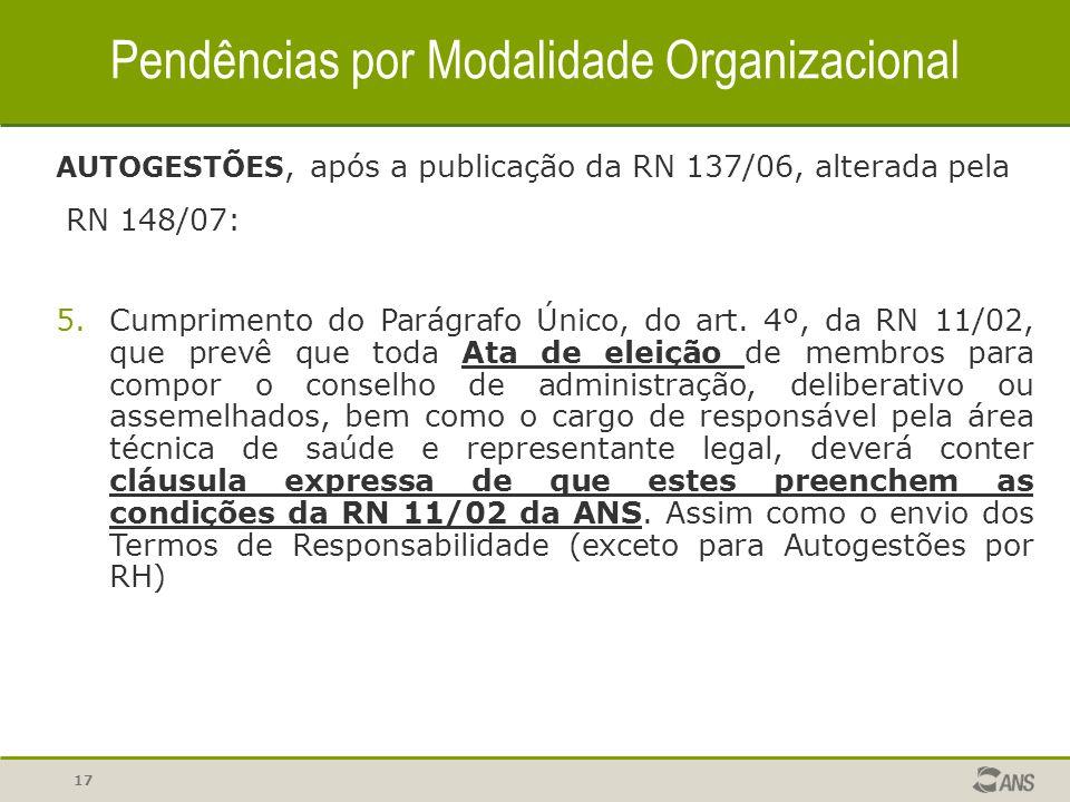 17 Pendências por Modalidade Organizacional AUTOGESTÕES, após a publicação da RN 137/06, alterada pela RN 148/07: 5.Cumprimento do Parágrafo Único, do