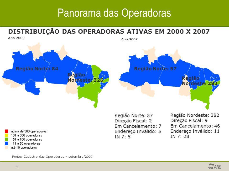 4 Panorama das Operadoras Fonte: Cadastro das Operadoras – setembro/2007 DISTRIBUIÇÃO DAS OPERADORAS ATIVAS EM 2000 X 2007 Ano 2000 Região Nordeste: 3