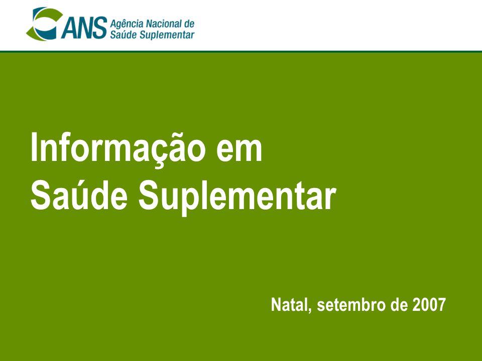 12 Setor de Saúde Suplementar - Brasil Operadoras em atividade, segundo as Unidades da Federação de residência do beneficiário - Brasil - junho/2007 Fontes: Sistema de Informações de Beneficiários - ANS/MS - 06/2007 e Cadastro de Operadoras/ANS/MS - 30/06/2007