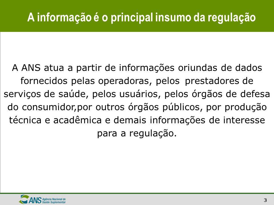 3 A informação é o principal insumo da regulação A ANS atua a partir de informações oriundas de dados fornecidos pelas operadoras, pelos prestadores d