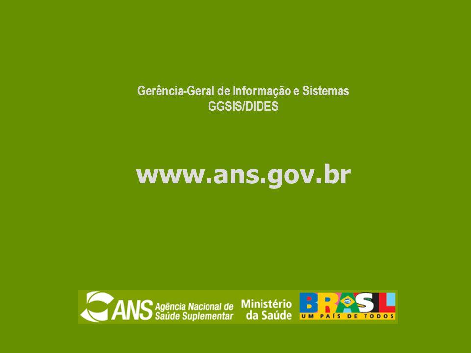 Gerência-Geral de Informação e Sistemas GGSIS/DIDES www.ans.gov.br