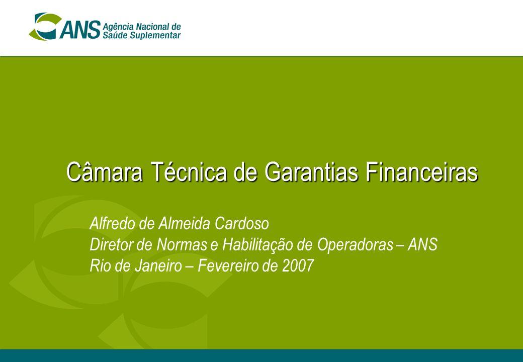 Câmara Técnica de Garantias Financeiras Alfredo de Almeida Cardoso Diretor de Normas e Habilitação de Operadoras – ANS Rio de Janeiro – Fevereiro de 2007