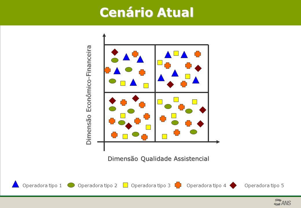 Dimensão Econômico-Financeira Dimensão Qualidade Assistencial Cenário Atual Operadora tipo 1Operadora tipo 2Operadora tipo 3Operadora tipo 4 Operadora tipo 5