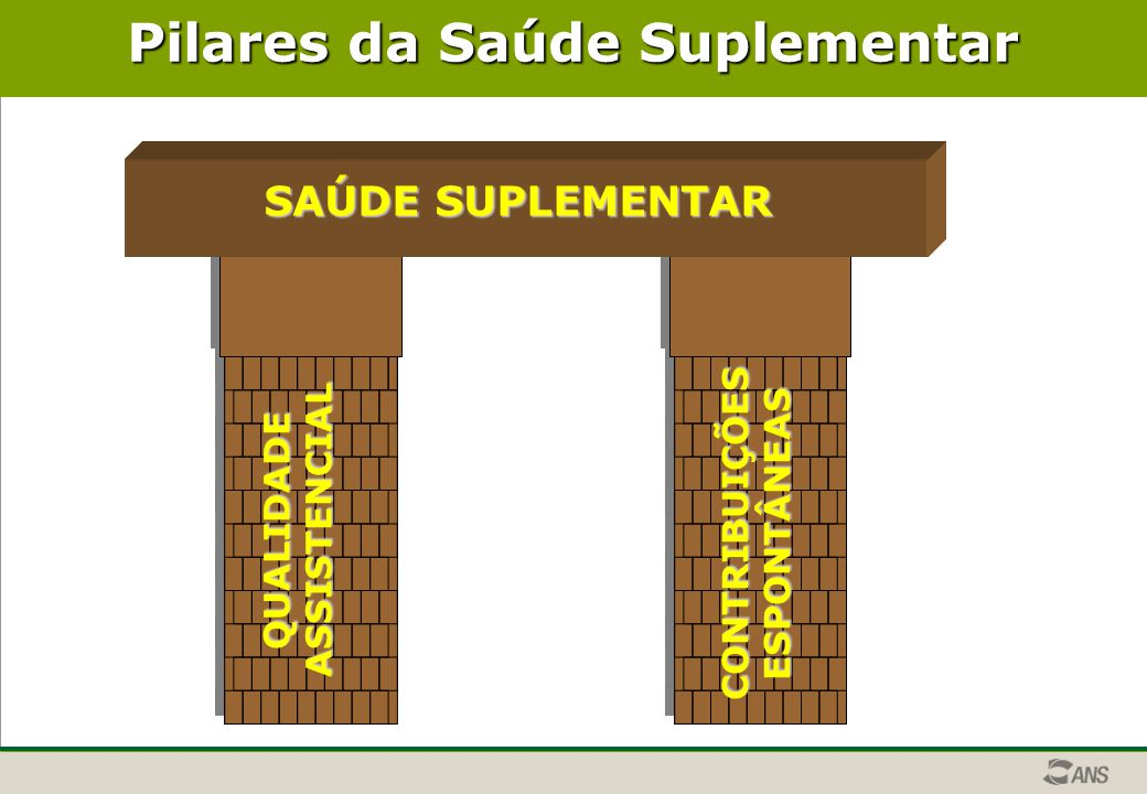 Pilares da Saúde Suplementar QUALIDADEASSISTENCIAL CONTRIBUIÇÕESESPONTÂNEAS Segurança Econômica Qualidade Objetiva/ Acesso