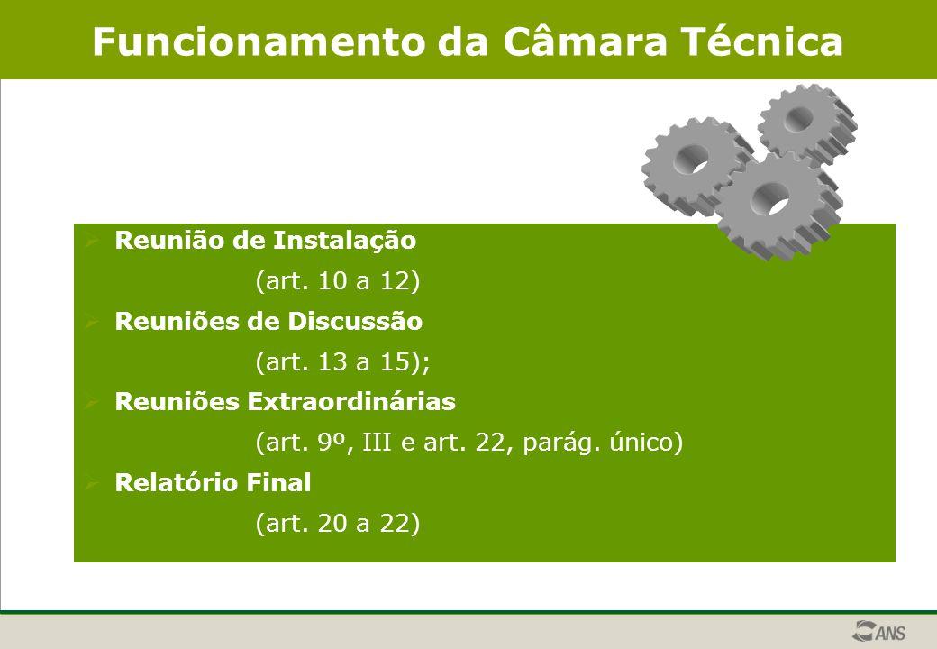 Funcionamento da Câmara Técnica  Reunião de Instalação (art.