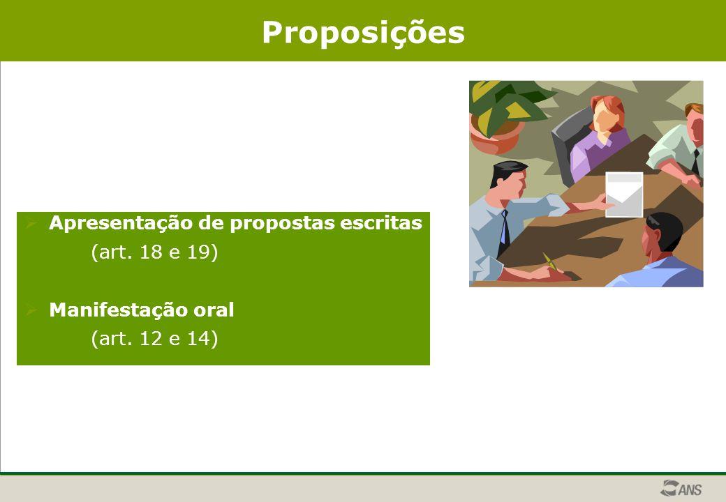 Proposições  Apresentação de propostas escritas (art. 18 e 19)  Manifestação oral (art. 12 e 14)
