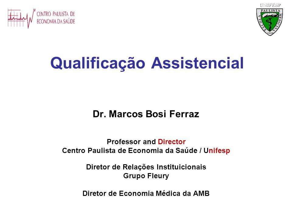 Qualificação Assistencial Dr. Marcos Bosi Ferraz Professor and Director Centro Paulista de Economia da Saúde / Unifesp Diretor de Relações Instituicio