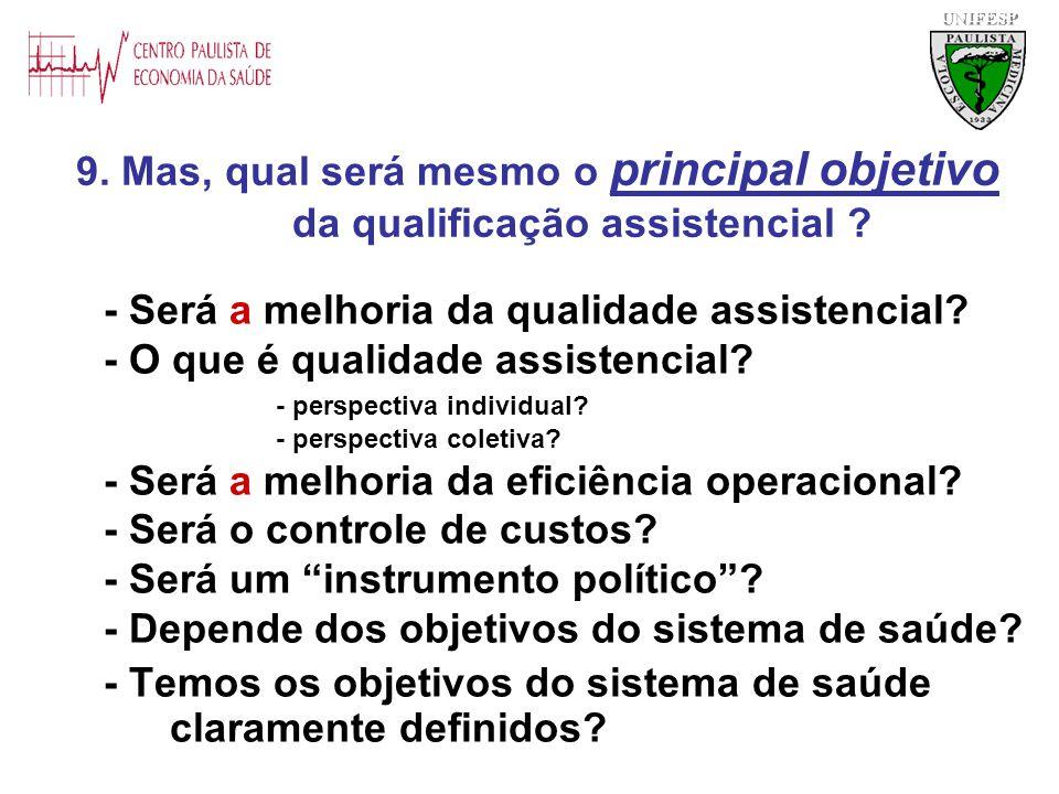 - Será a melhoria da qualidade assistencial? - O que é qualidade assistencial? - perspectiva individual? - perspectiva coletiva? - Será a melhoria da