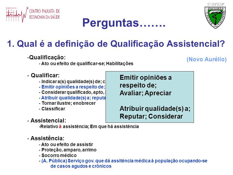 1. Qual é a definição de Qualificação Assistencial? UNIFESP -Qualificação: - Ato ou efeito de qualificar-se; Habilitações - Qualificar: - Indicar a(s)