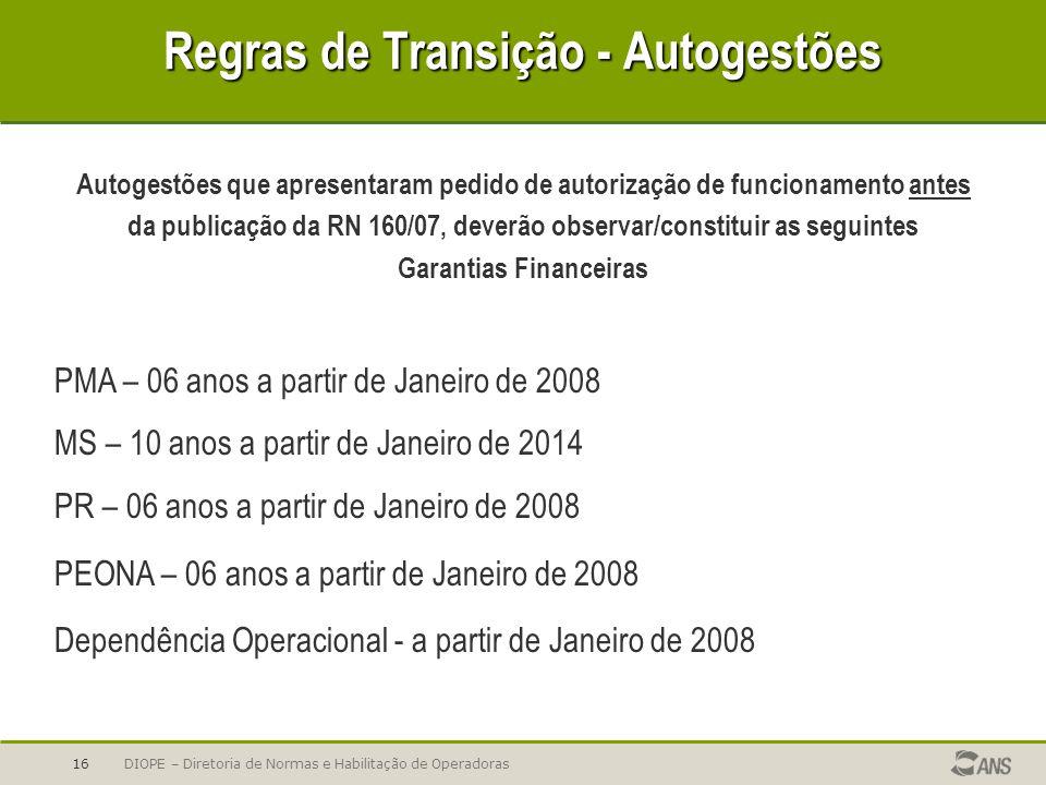 DIOPE – Diretoria de Normas e Habilitação de Operadoras16 Regras de Transição - Autogestões PMA – 06 anos a partir de Janeiro de 2008 MS – 10 anos a p