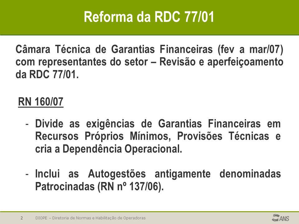DIOPE – Diretoria de Normas e Habilitação de Operadoras2 Reforma da RDC 77/01 Câmara Técnica de Garantias Financeiras (fev a mar/07) com representante