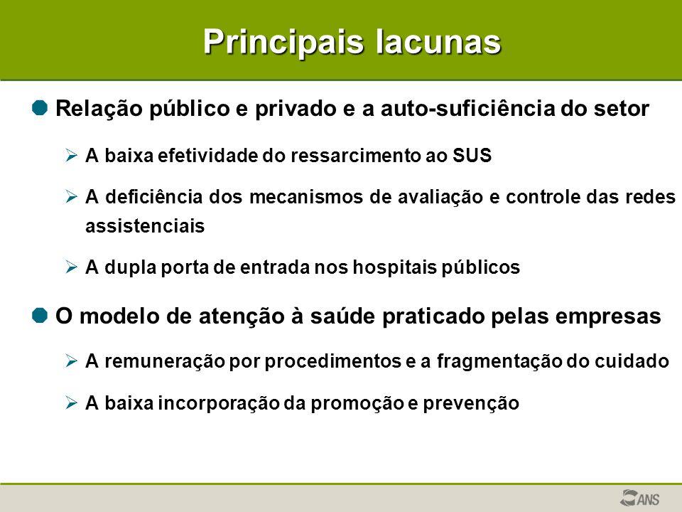 Principais lacunas  Relação público e privado e a auto-suficiência do setor  A baixa efetividade do ressarcimento ao SUS  A deficiência dos mecanis