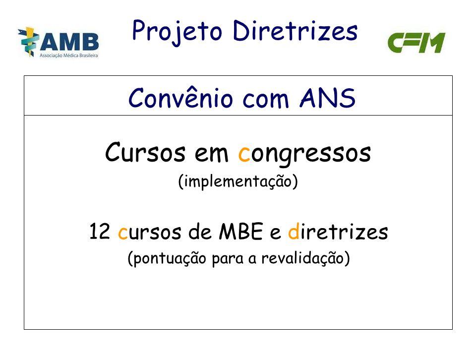 Convênio com ANS Cursos em congressos (implementação) 12 cursos de MBE e diretrizes (pontuação para a revalidação) Projeto Diretrizes