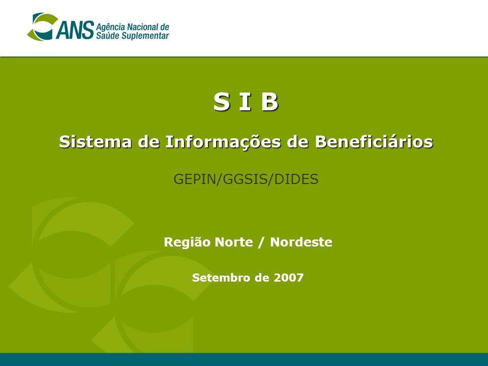 S I B Sistema de Informações de Beneficiários GEPIN/GGSIS/DIDES Setembro de 2007 Região Norte / Nordeste