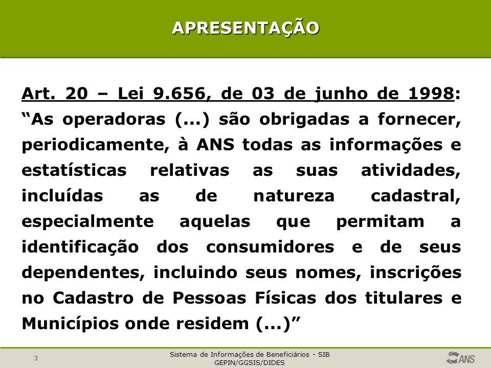 """Sistema de Informações de Beneficiários - SIB GEPIN/GGSIS/DIDES 3 APRESENTAÇÃO Art. 20 – Lei 9.656, de 03 de junho de 1998: """"As operadoras (...) são o"""