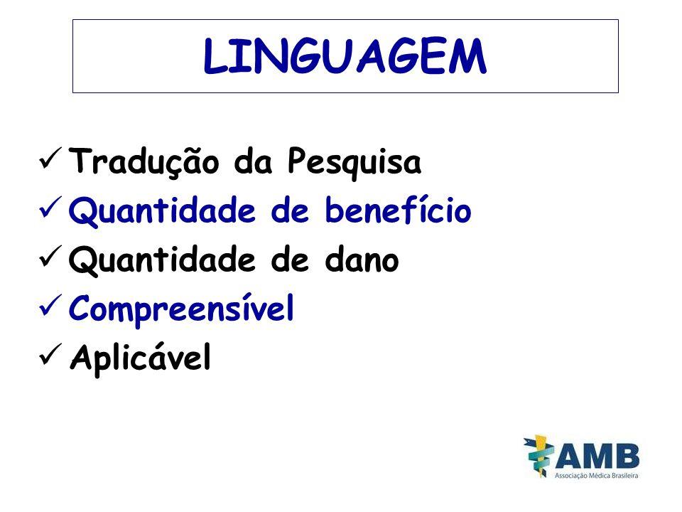 LINGUAGEM Tradução da Pesquisa Quantidade de benefício Quantidade de dano Compreensível Aplicável