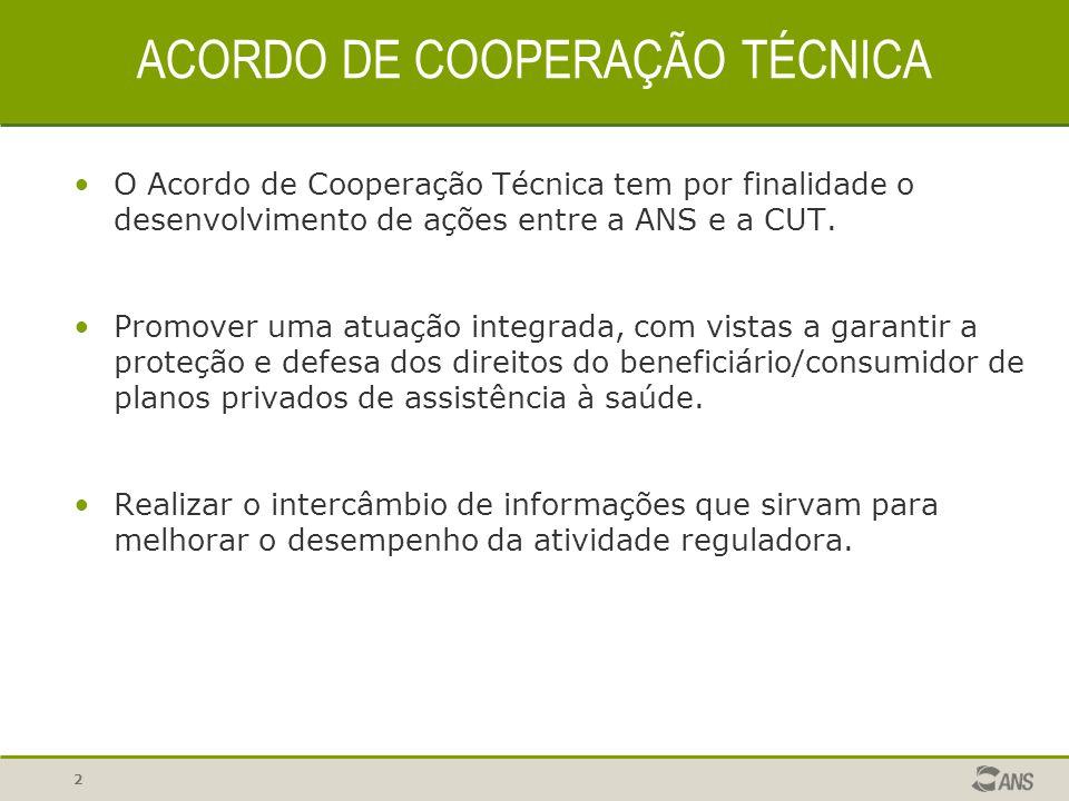 2 ACORDO DE COOPERAÇÃO TÉCNICA O Acordo de Cooperação Técnica tem por finalidade o desenvolvimento de ações entre a ANS e a CUT. Promover uma atuação