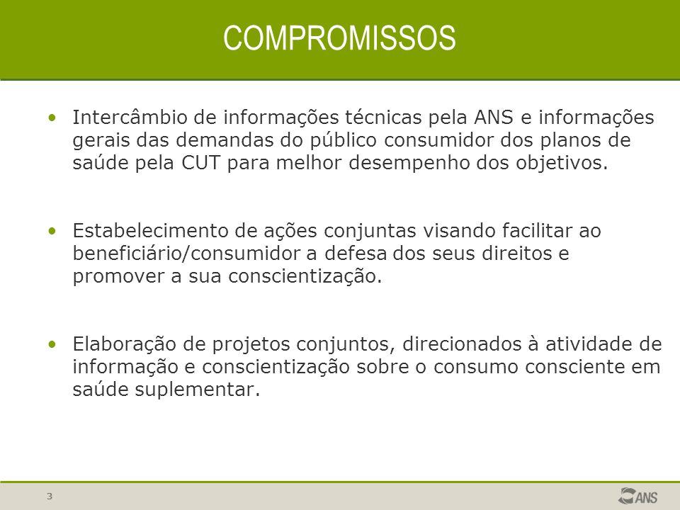 3 COMPROMISSOS Intercâmbio de informações técnicas pela ANS e informações gerais das demandas do público consumidor dos planos de saúde pela CUT para