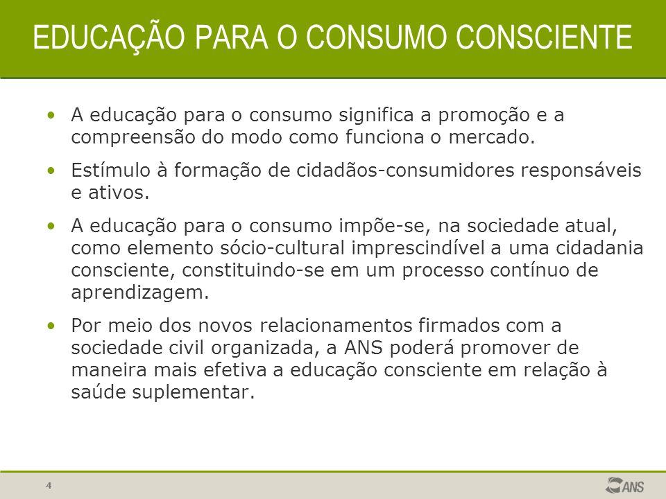 4 EDUCAÇÃO PARA O CONSUMO CONSCIENTE A educação para o consumo significa a promoção e a compreensão do modo como funciona o mercado. Estímulo à formaç