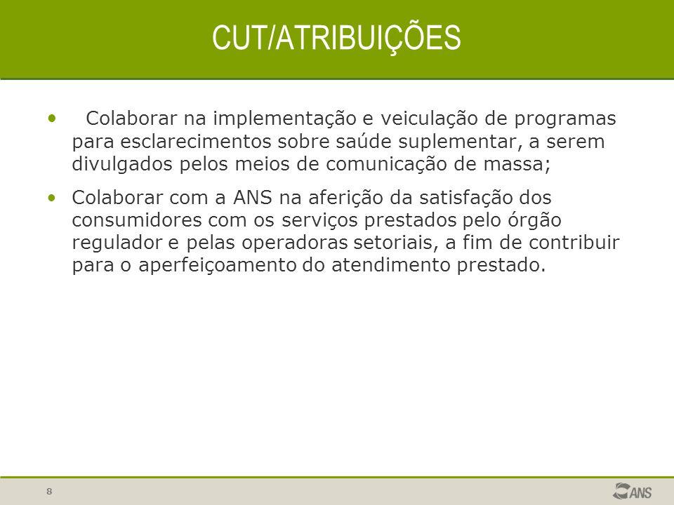 8 CUT/ATRIBUIÇÕES Colaborar na implementação e veiculação de programas para esclarecimentos sobre saúde suplementar, a serem divulgados pelos meios de