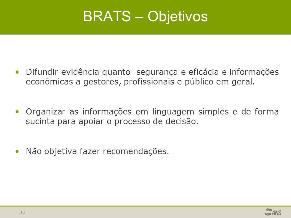 11 BRATS – Objetivos Difundir evidência quanto segurança e eficácia e informações econômicas a gestores, profissionais e público em geral. Organizar a