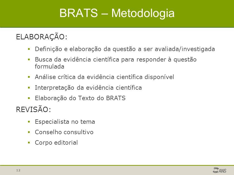 12 BRATS – Metodologia ELABORAÇÃO:  Definição e elaboração da questão a ser avaliada/investigada  Busca da evidência científica para responder à que