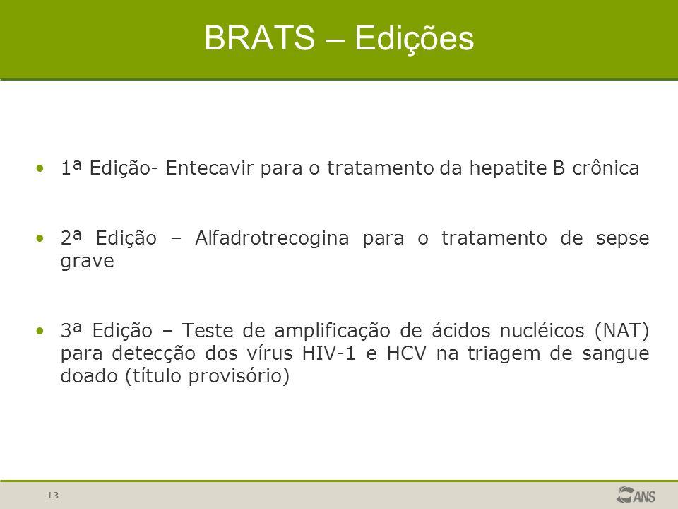 13 BRATS – Edições 1ª Edição- Entecavir para o tratamento da hepatite B crônica 2ª Edição – Alfadrotrecogina para o tratamento de sepse grave 3ª Ediçã